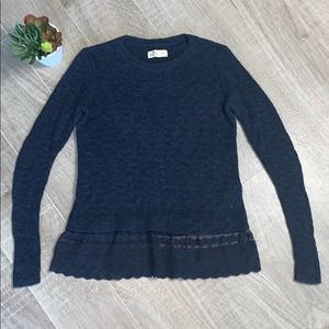 Hollister Navy Crew Neck Sweater Lace Detail XS
